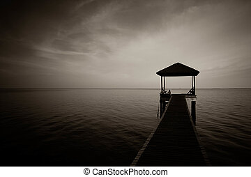 black and white of jetty