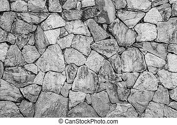 black and white of Wall stone background.