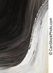 Black and white oil-painted curve. Abstract background.