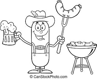 Black And White Oktoberfest Sausage