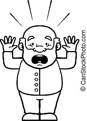 Black and white old man being shocked with his hands up.