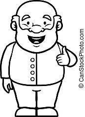 Black and white old man giving thumbs up - Black and white...