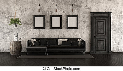 Black and white old room