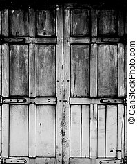 black and white Old wood window