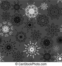 Black and white on grey seamless floral pattern