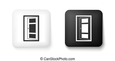 Black and white Open door icon isolated on white background. Square button. Vector