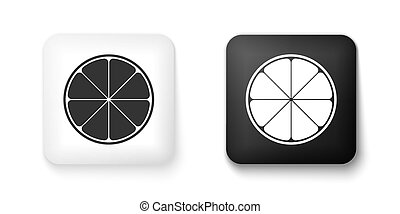 Black and white Orange in a cut. Citrus fruit icon isolated on white background. Healthy lifestyle. Square button. Vector