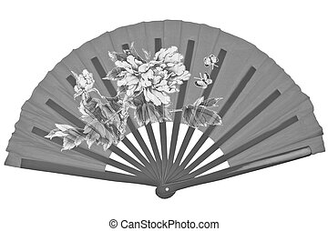 Black and white oriental chinese fan isolated on white background