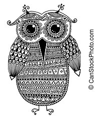 black and white original ethnic owl ink drawing, vector...