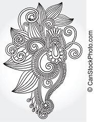 black and white original hand draw line art ornate flower...