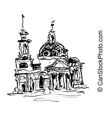 sketch drawing of historical building from Kyiv, Ukraine