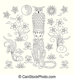 black and white ornamental cat and owl for adult coloring