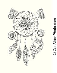 black and white ornamental  dreamcatcher and butterfies for adult coloring