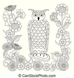 black and white ornamental owl and flowers for adult coloring