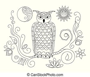 black and white ornamental owl and Yin Yang for adult coloring