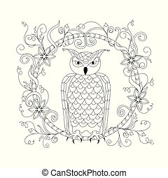 black and white ornamental owl in the floral frame for adult coloring