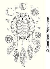 black and white ornamental owl on the dreamcatcher for adult coloring