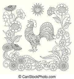 black and white ornamental rooster and symbol sun for adult coloring
