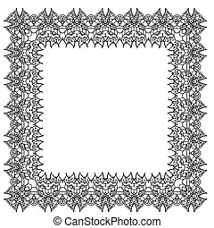 Black-and-white ornamental vector frame. Isolated square element.