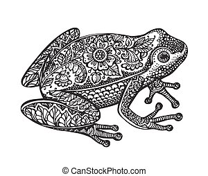 Black and white ornate doodle frog in graphic style