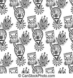 black and white ornate seamless flower paisley design backgroun