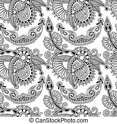 black and white ornate seamless flower paisley design background