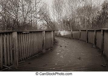 Black and White outdoor wooden bridge