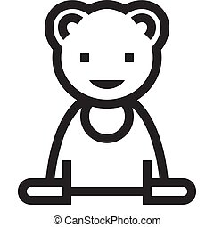 Black and white outline bear icon on a white background. Vector.