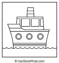 Black and white outline cartoon ship vector design