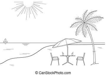 Black and white outline drawing of a striped beach umbrella and the two wooden chairs on a white background, vector illustration