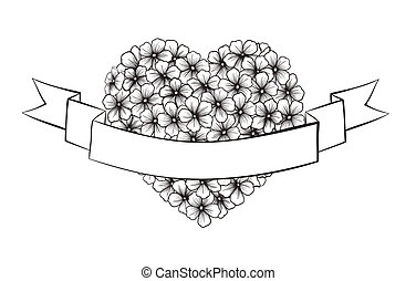 Black and white outline flowers in a heart shape. With festive ribbon for printing greetings