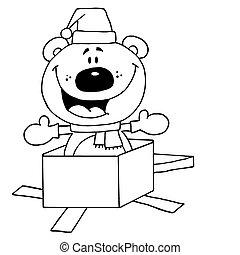 Christmas Polar Bear - Black And White Outline Of A ...