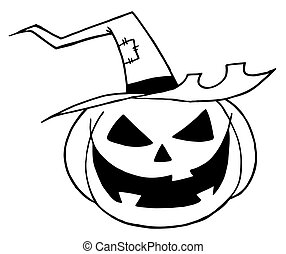 Jack O Lantern Wearing A Witch Hat - Black And White Outline...