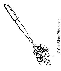 black and white outline of an ink pen with a painted floral design of curves and curls.