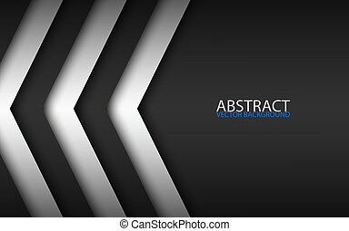 Black and white overlayed arrows, abstract modern vector background with place for your text, material design, abstract widescreen background