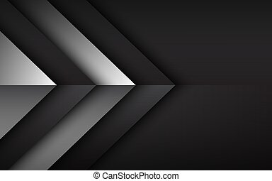 Black and white overlayed arrows. Abstract modern vector background with place for your text. Material design. Abstract widescreen background