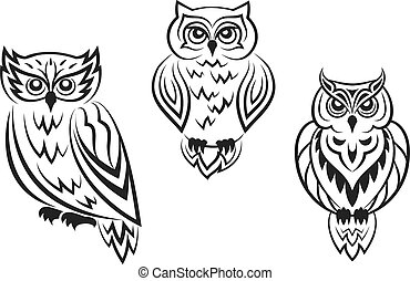 Black and white owl bird tatoos in silhouetted style...
