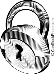 black and white padlock - a black and white illustration of...