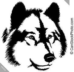 black and white paint draw wolf illustration