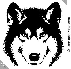 black and white paint draw wolf illustration - black and ...