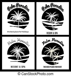Black and white palm paradise logo set. Monochromic icons...