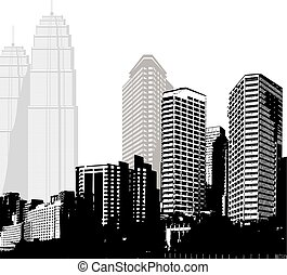 Black and white panorama of skyscrapers.