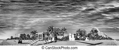 Black and white panoramic view of Fort Lauderdale Beach - Florida