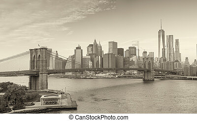 Black and white panoramic view of Downtown Manhattan, New York