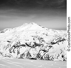 Black and white panoramic view on mount Elbrus