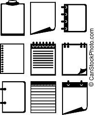 Black and white Paper and Notebook Vector Icon Set