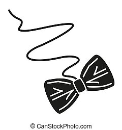 Black and white paper bow cat toy silhouette