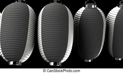 Black and white paper lantern on black background. Loop able...