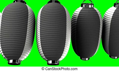 Black and white paper lantern on green chroma key.Loop able...