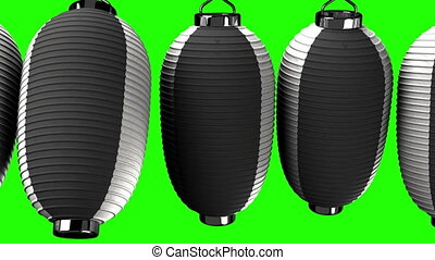 Black and white paper lantern on green chroma key. Loop able...